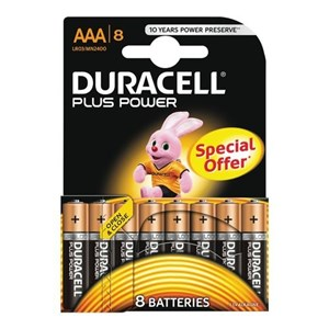 Duracell Plus Power AAA Batterier, 8pk - Special Offer