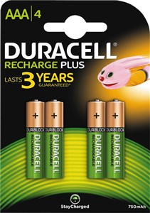 Duracell Recharge Plus AAA 750mAh Batteries, 4pk