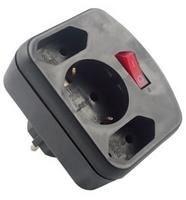 Image of   combi adapter, 2+1 fold strømadapter og vekselret 3500 W Sort