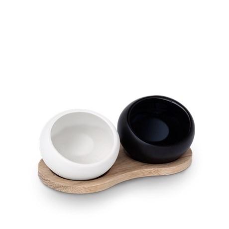 Rosendahl Fingersalt -og peberkar m. holder, porcelæn/træ