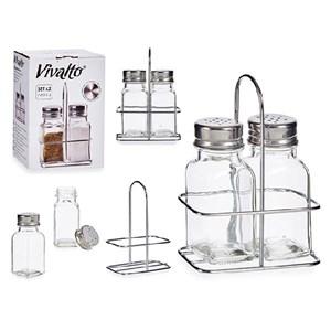 Salt og Peber-sæt Metal Glas Rustfrit stål (2 Dele)