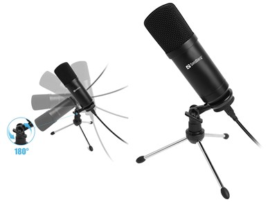 Image of   Sandberg Streamer USB Desk Microphone, Black