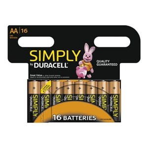 Duracell Simply AA Batterier, 16 stk.