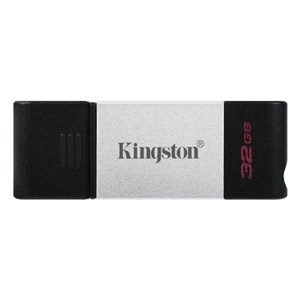 USB-stik Kingston DataTraveler DT80 Type C Sort Sølv 32 GB