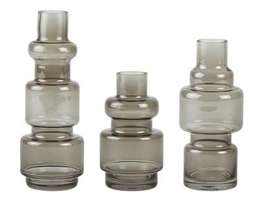 Image of   Vase - 3 stk. - Glas - Grå - D