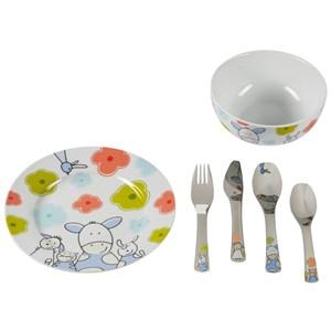 Image of   12.9445.9964 bestik til småbarn Toddler cutlery set Rustfrit stål, Hvid Porcelæn, Rustfrit stål